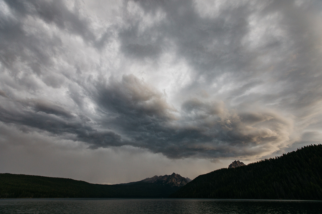 Moody skies over Redfish Lake in Stanley, Idaho